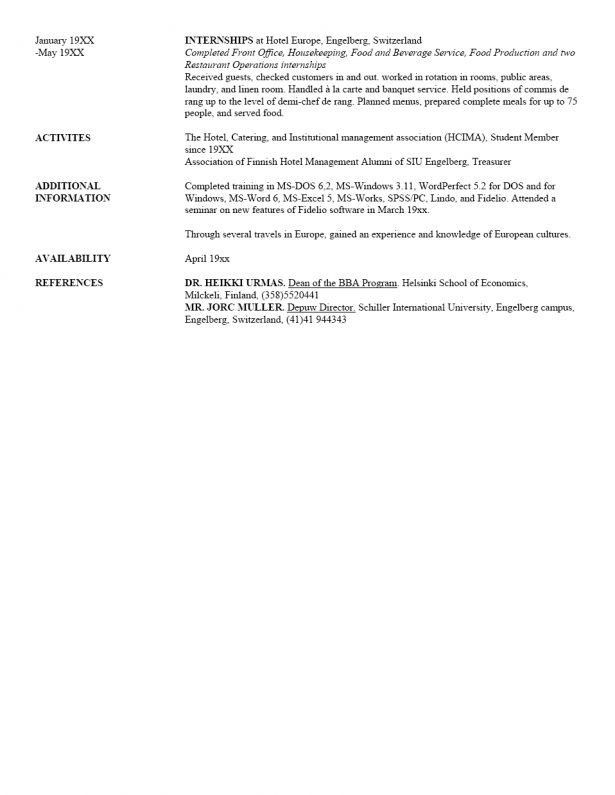 Resume : Example Of Chronological Resume How To Write Reference ...