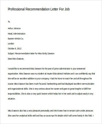 Sample Professional Letter of Recommendation - 9+ Examples in Word ...