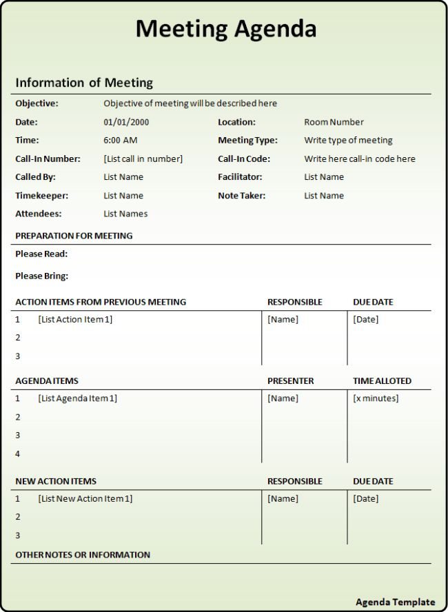 Interesting Meeting Agenda Template with Information and ...