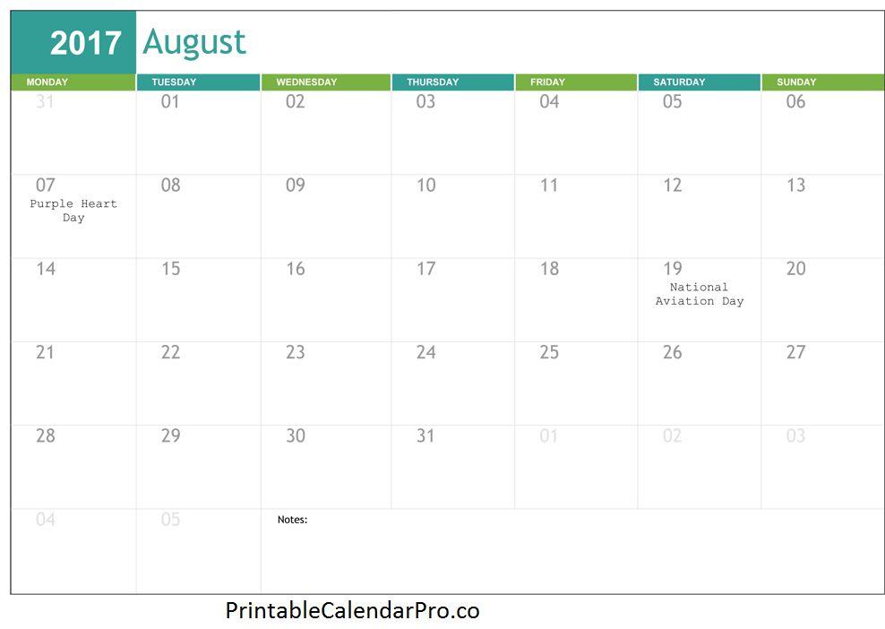 October 2017 printable calendar template