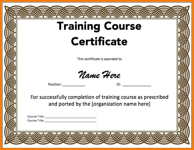 Training certificate template word training certificate template 8 certificate template word receipt templates yadclub Gallery