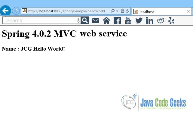 Spring MVC Hello World Example | Examples Java Code Geeks - 2017
