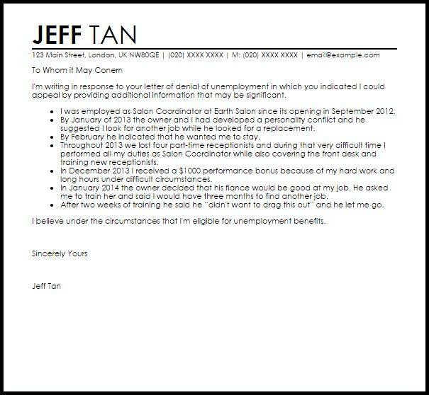 hardship letter template 18. 6 unemployment appeal letter rent ...
