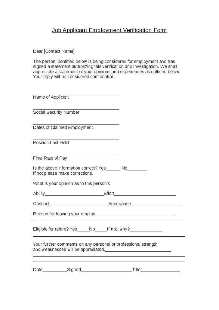 Job applicant employment verification form letter