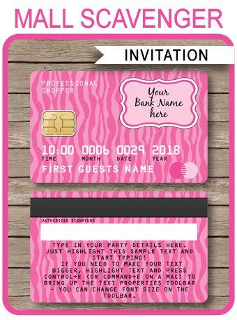 Credit Card Invitations | Mall Scavenger Hunt Invitations