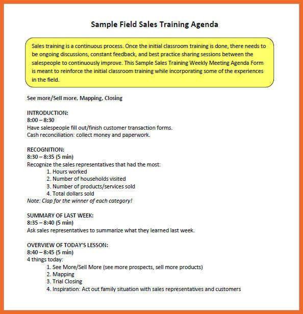 Sales Meeting Agenda | Sop Example