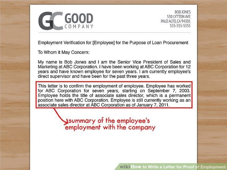 letter proof of employment
