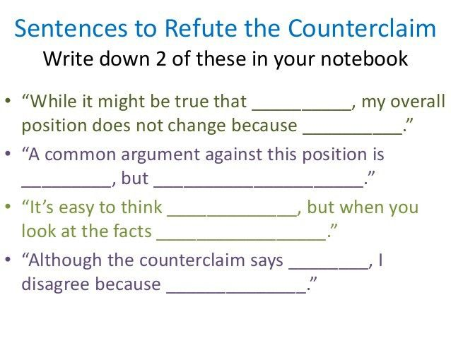 Counterclaims – Writing Workshop