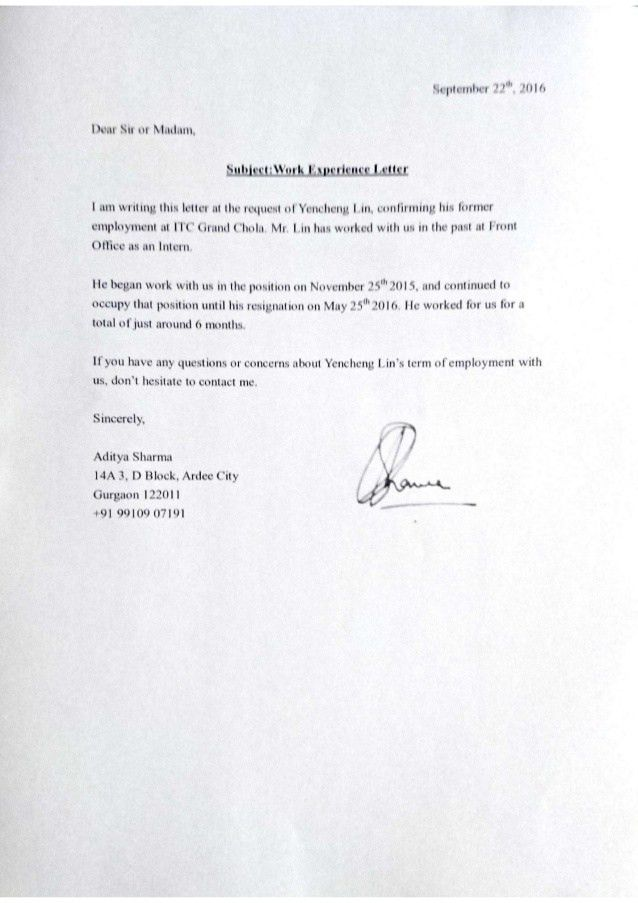 Experience Letter-ITC Grand Chola