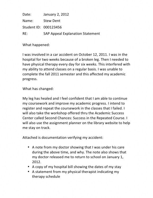financial aid gpa appeal letter example – 2017 Letter Format