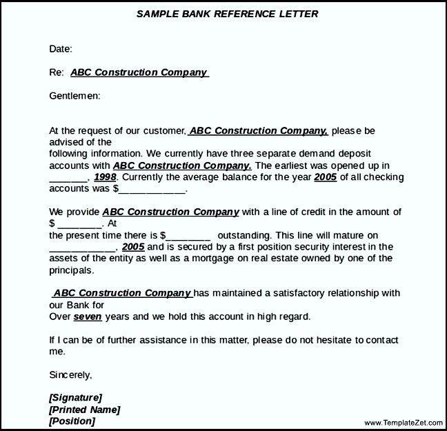 Sample Bank Reference Letter | TemplateZet
