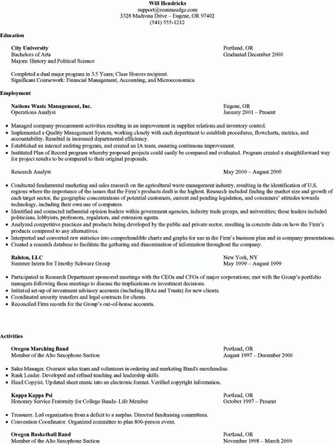 Sample Student Resume - Business School Admission (MBA)