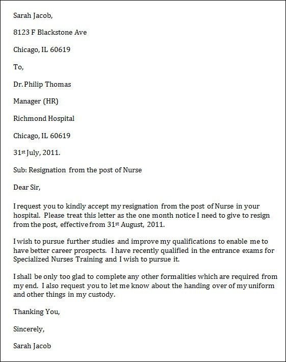 Resignation Letter Format: Resign Job Nursing Letter Of ...