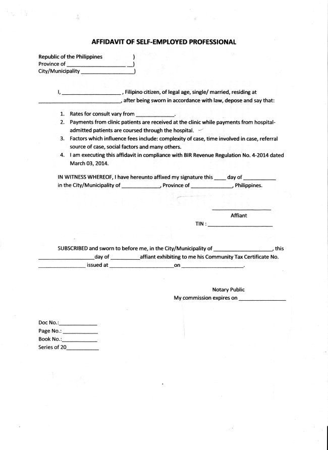 Brilliant Affidavit of Self Employed Professional Sample with ...