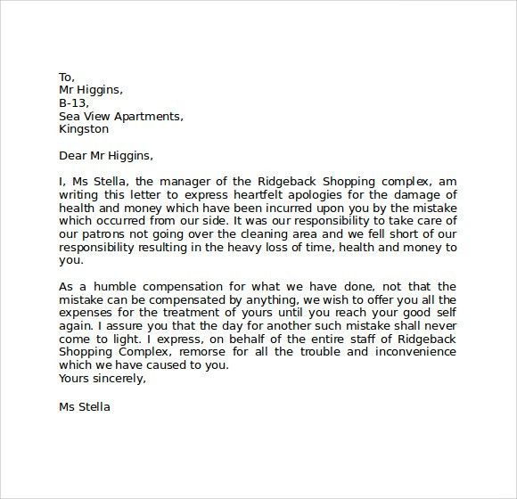Effective Business Apology Letter Templates : Vatansun