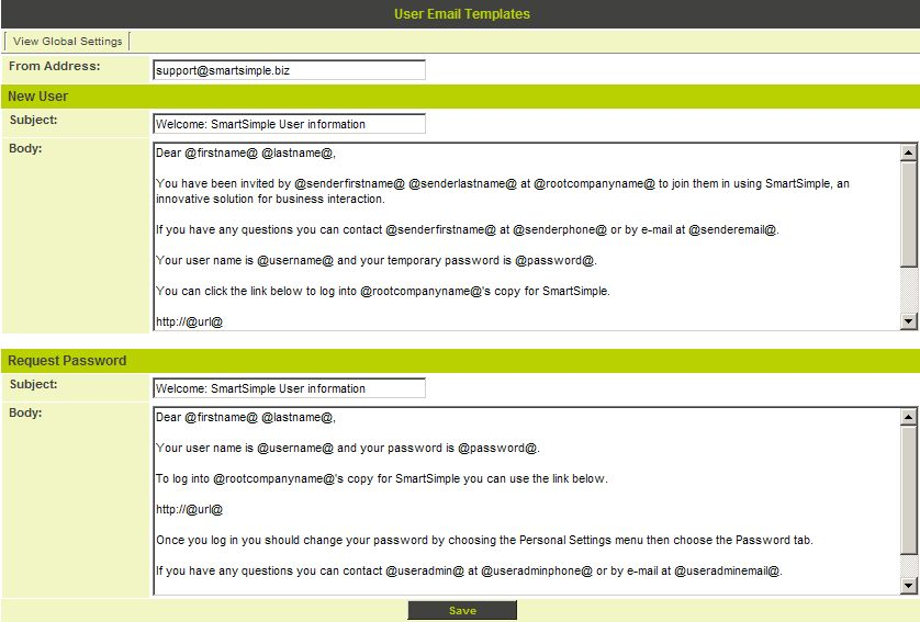 User Email Templates - SmartWiki