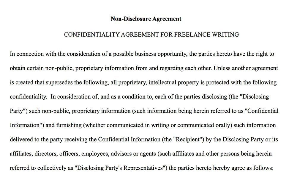 Sample Non Disclosure Agreement. Example Non Disclosure Agreement ...