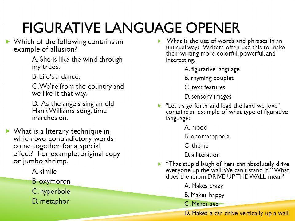 Figurative Language Write down 6 different types of figurative ...
