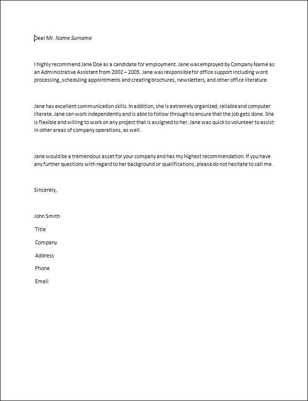 Recommendation Letter | resume GL Accountant | Pinterest ...