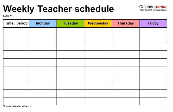 12 Free Sample Teacher Schedule Templates – Printable Samples