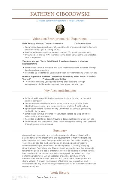 Sales Coordinator Resume samples - VisualCV resume samples database