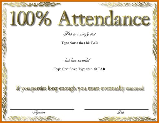 7+ perfect attendance certificate templateReference Letters Words ...