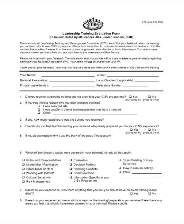 21+ Free Training Evaluation Form