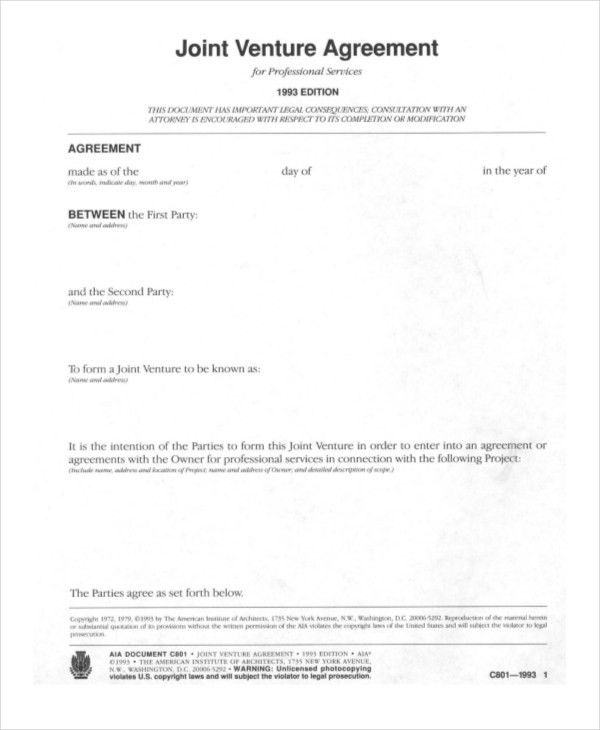 Joint Venture Agreement. Joint Venture Agreement Document Template ...
