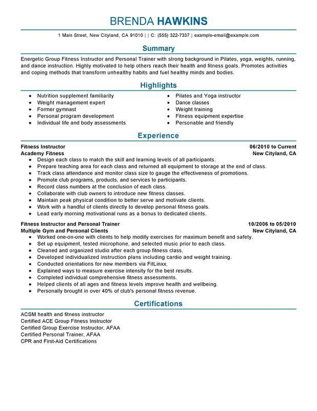 Unforgettable Fitness and Personal Trainer Resume Examples to ...