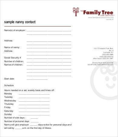 Nanny Contract Template - 7+ Free PDF Docume | Free & Premium ...