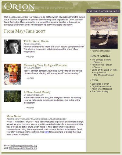 Email Newsletter Template Conversion for Orion Magazine