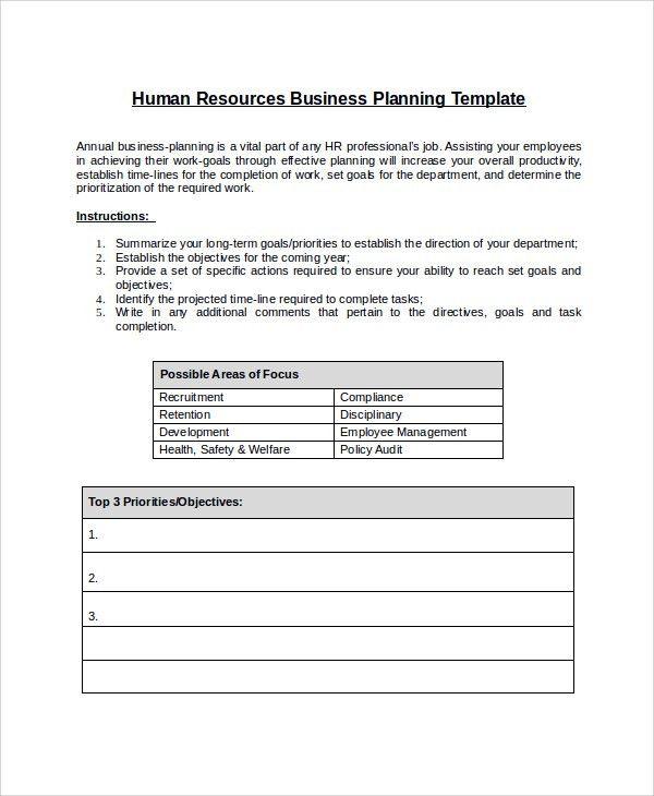 Sample HR Plan - 9+ Documents in Word, PDF