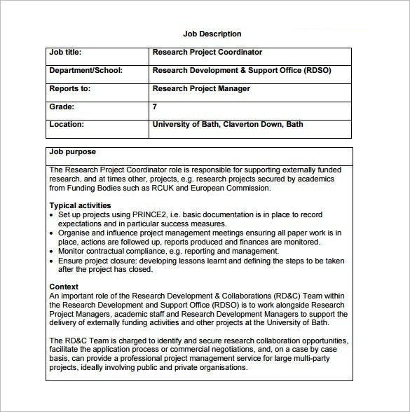 10+ Project Coordinator Job Description Templates - Free Sample ...