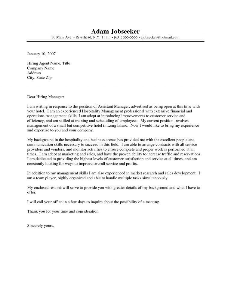 Awesome Inspiration Ideas Hospitality Cover Letter 12 Job - CV ...