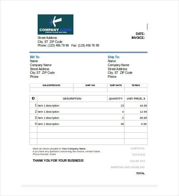 20+ Blank Invoice Templates   Free & Premium Templates