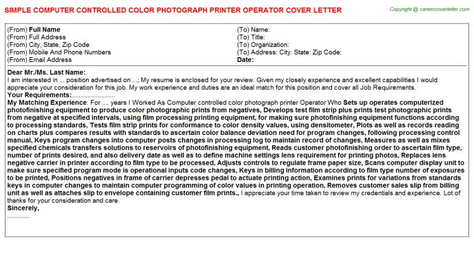 Computer Controlled Color Photograph Printer Operator Job Title Docs
