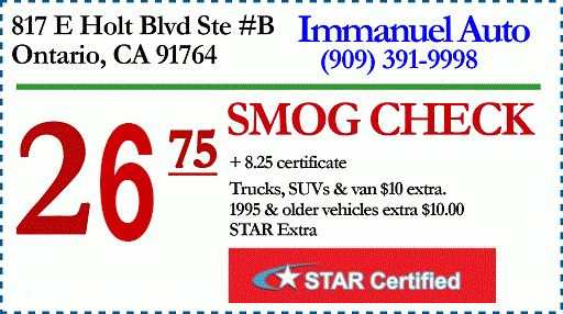 TERMS AND CONDITIONS - $26.75 Smog Check Ontario CA