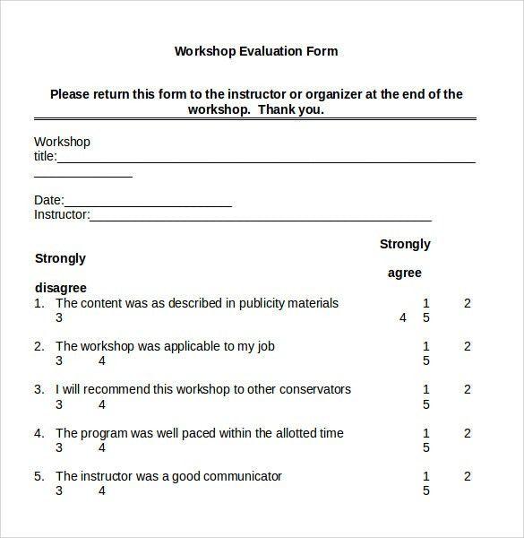 Workshop Feedback Form. Workshop Evaluation Form Sample Evaluation ...