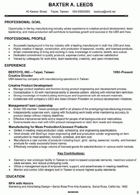 first page of a board of directors resume. for your executive ...