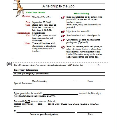 Field trip permission form DOWNLOAD at http://www.doxhub.org ...