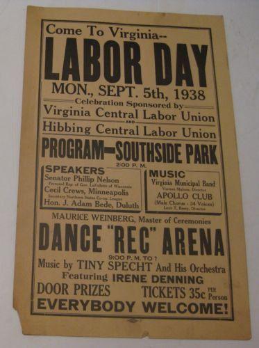 Art Poster: Rare Vintage 1938 Virginia Minnesota Labor Day Trade ...