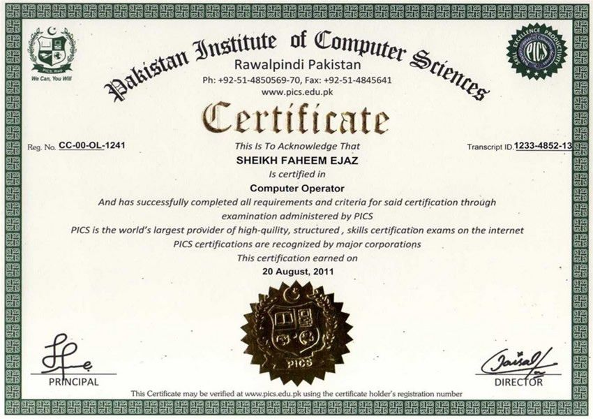 PICS Online Sample Certificates