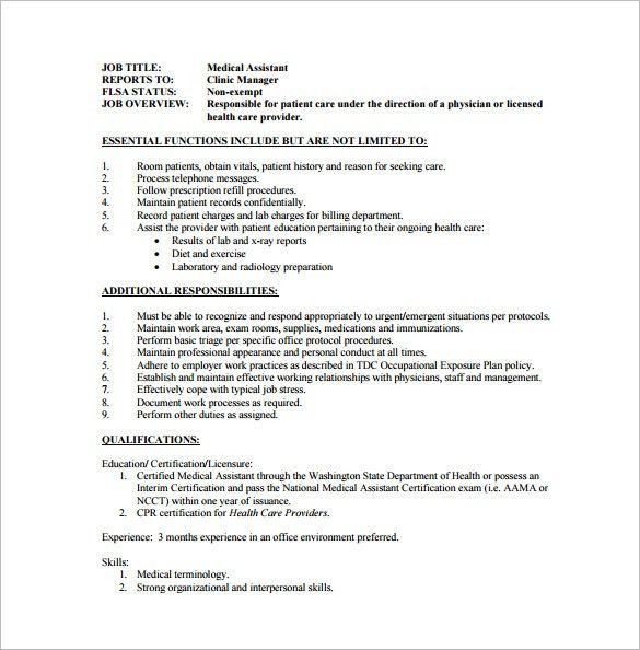 Medical Job Description. Certified Medical Assistant Job ...
