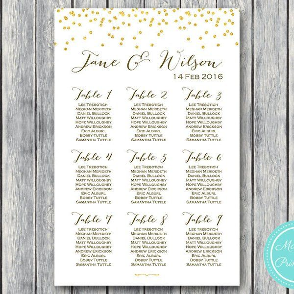 Gold Glitter Wedding Seating Chart - Free Wedding Seating Charts