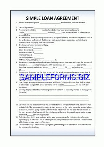 Simple Loan Agreement Template 2 pdf free — 3 pages