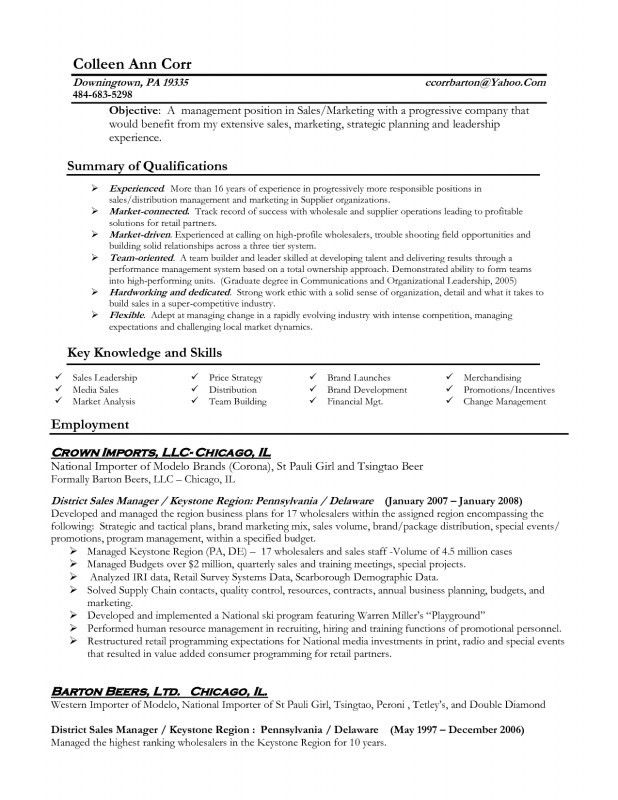 Resume For A Manager Position | Samples Of Resumes