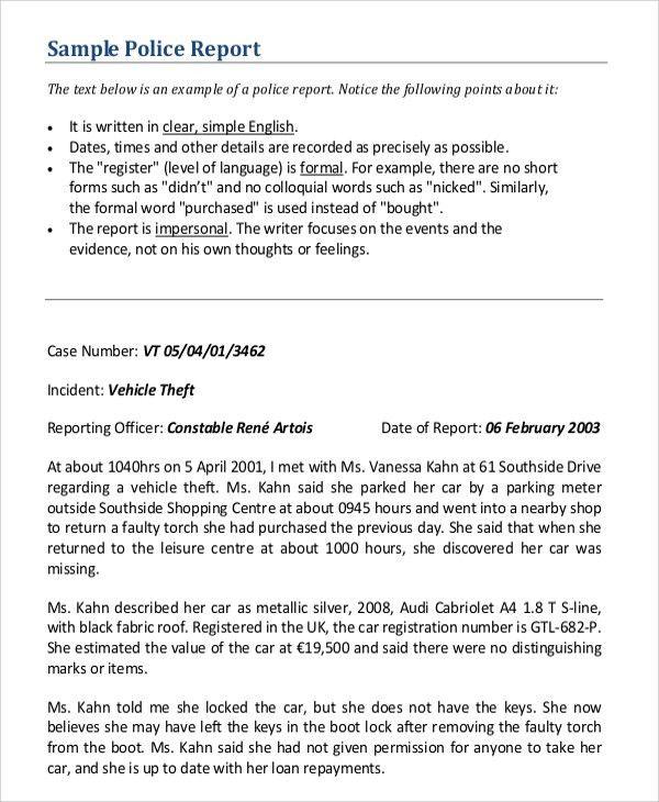 Sample Police Report - 5+ Documents in PDF