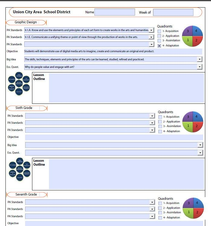 Lesson Plan Template with Drop Down boxes for state standards ...