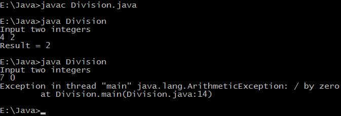 Java exception handling tutorial with example programs ...