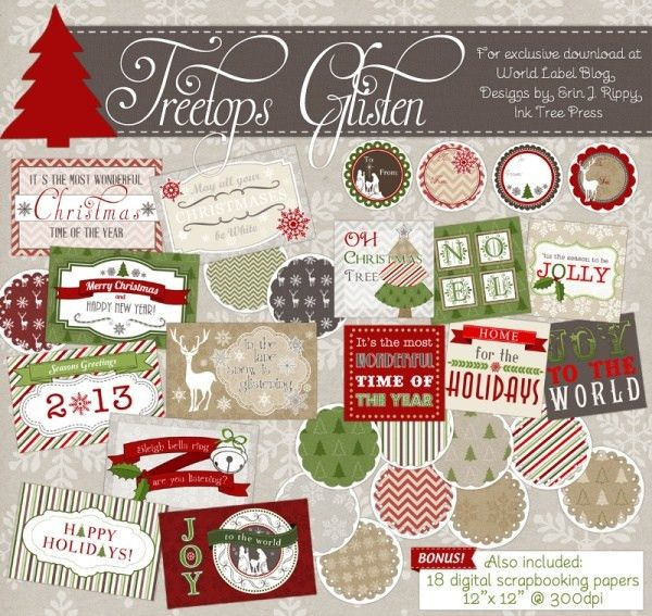 Download Free Christmas and Holiday designed label templates